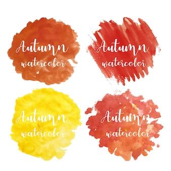 美しい秋の水彩画のセット