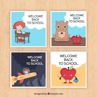 美しい背中の学校のカードのセット