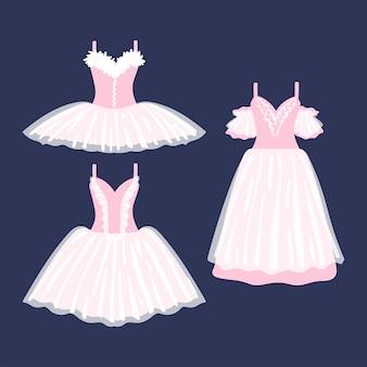 暗い背景の上の美しいバレエドレスのセット。ミニ、ミディ、マキシ。ベクトルイラスト。