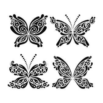 美しい黒と白の蝶のタトゥーのセット