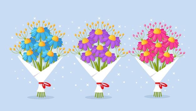 아름다운 꽃다발의 집합입니다. 선물을위한 꽃의 무리. 인사말 카드 만화 디자인