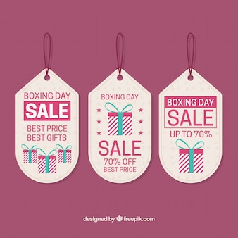 Set of beautiful boxing day labels