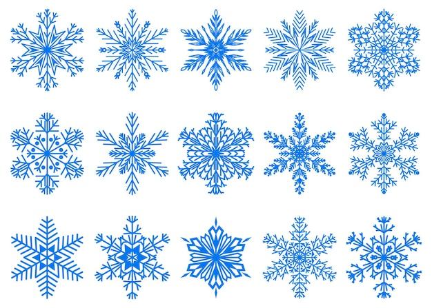 白い背景で隔離の青い色の美しいクリスマスの雪片のセット
