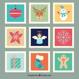 Набор красивых рождественских марок