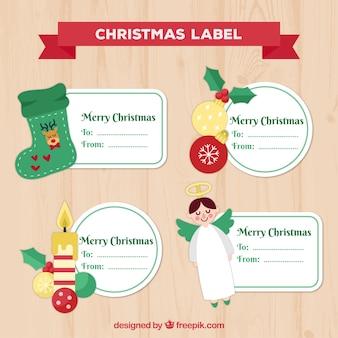 선물을위한 아름 다운 크리스마스 스티커 세트