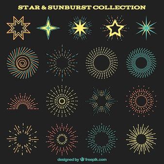 Набор красивых colores sunburst и звезды украшения