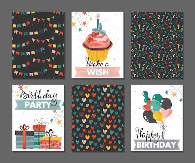 Набор красивых красочных приглашений на день рождения или поздравительных открыток с подарочными коробками для кексов с воздушными шарами