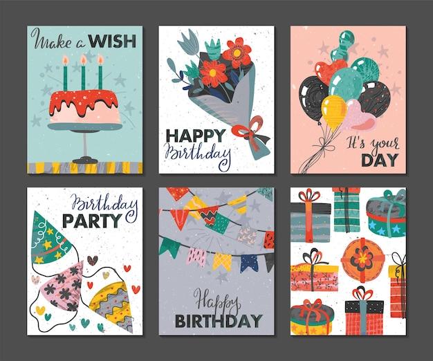 Набор красивых красочных приглашений на день рождения или поздравительных открыток