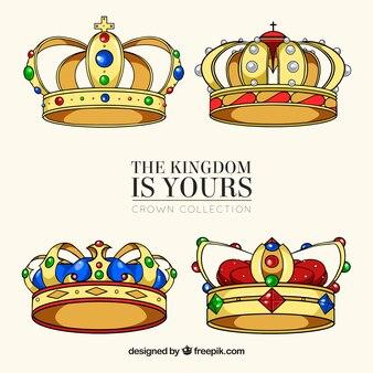 色のついた宝石を使った美しい冠のセット