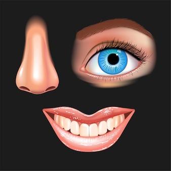 光沢のある唇と美しい女性の目、鼻、笑顔の口のセット。