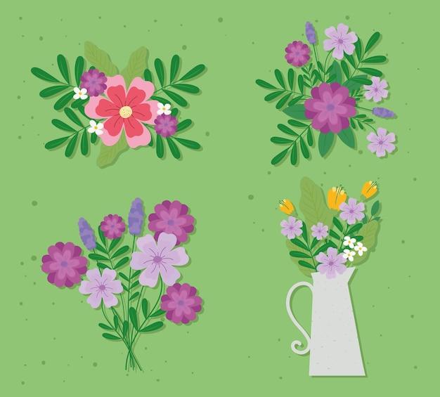 美しい花飾りイラストのセット