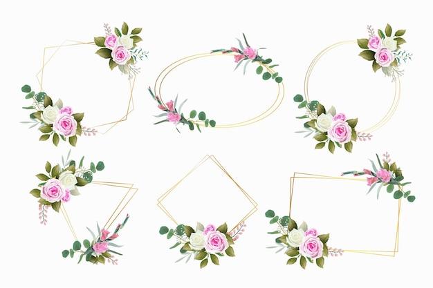 Набор красивых цветочных рамок