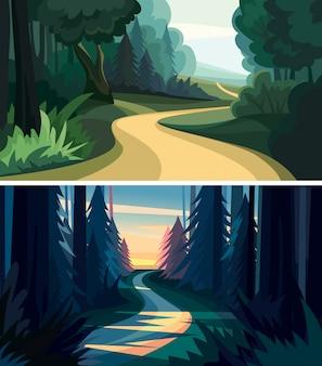 아름 다운 숲 풍경 세트