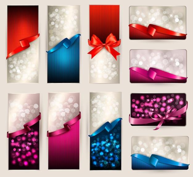 아름 다운 선물 카드 및 색상 선물 리본 배너 세트