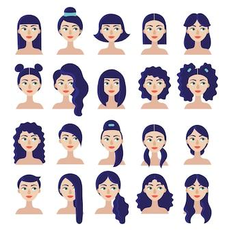 Набор портрета красивой девушки с различными стрижками и прическами для прямых и вьющихся волос.