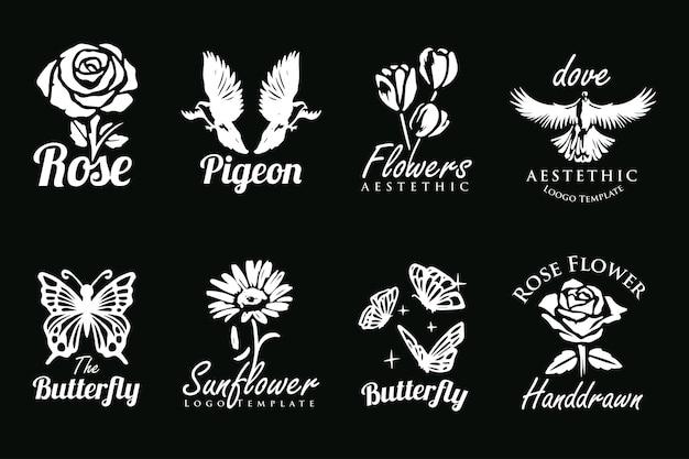 꽃새와 나비 로고의 아름다운 손으로 그린 컬렉션 세트