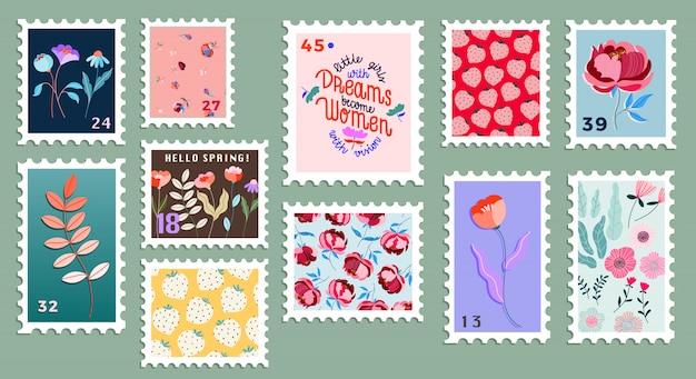 Набор красивых рисованной почтовых марок. разнообразие современных почтовых марок с. цветочные почтовые марки. почта и почтовое отделение концептуальный рисунок.