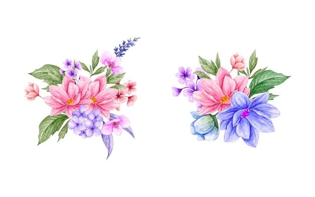 아름 다운 손으로 그린 수채화 봄 꽃 꽃다발 세트