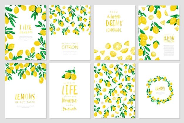 美しいレモンカードのセット