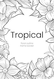 Набор красивых линий искусства розы тропическая рамка границы
