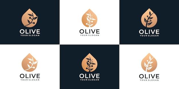 健康有機会社のための美しいオリーブオイルフェミニンなロゴのセット