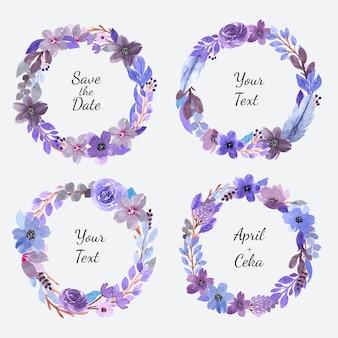 아름 다운 보라색 수채화 꽃 화 환의 세트