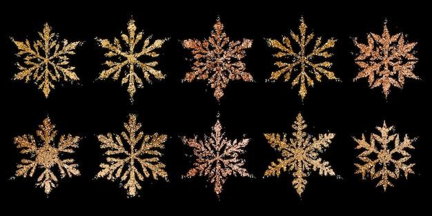 Набор красивых блестящих сложных новогодних снежинок из блесток в золотых тонах
