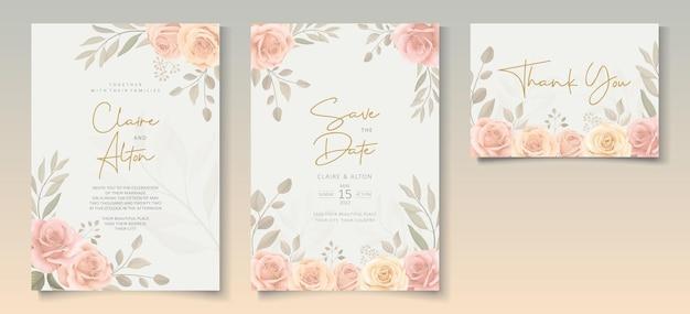 美しい柔らかい色の花の結婚式の招待状のテンプレートのセット
