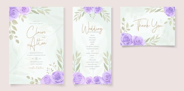 아름 다운 부드러운 색상 꽃 결혼식 초대장 서식 파일의 설정