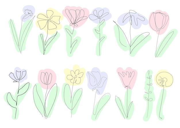 白い背景の上の美しい春の花のセット1つの連続線黒い輪郭アート色