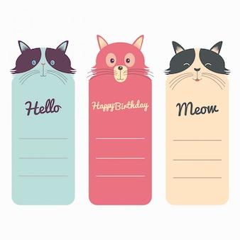 猫の美しいテンプレートカードのセット