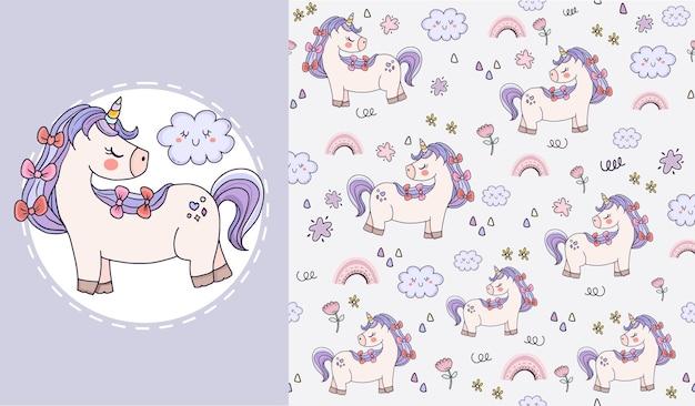 子供のための美しいユニコーン動物のシームレスなパターンデザインのセット