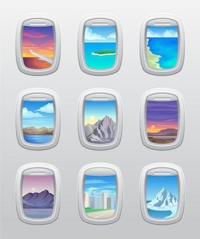 彼らの飛行機の窓の美しい景色のセット。 。