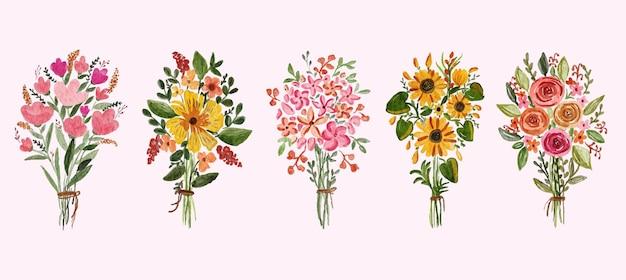 부드러운 분홍색과 노란색 해바라기 장미와 잎 배열의 아름다운 수채화 꽃다발 세트