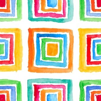 美しい水彩色の縞模様の正方形のセットです。手描きイラスト