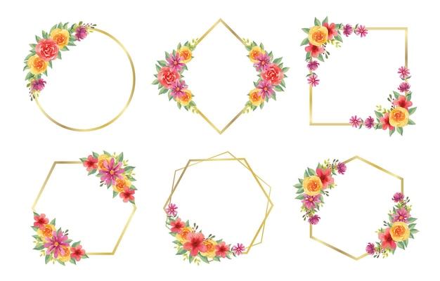 웨딩 모노그램 로고 및 브랜딩 로고 디자인을 위한 아름다운 수채화 꽃 프레임 세트