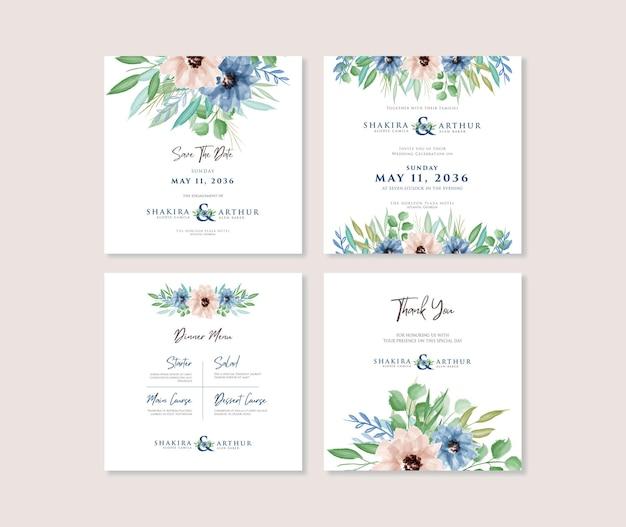 아름다운 수채화 꽃 결혼식 소셜 미디어 인스타그램 포스트 템플릿 디자인 세트