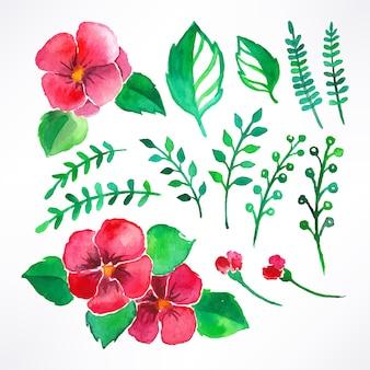아름 다운 수채화 핑크 꽃과 잎의 세트