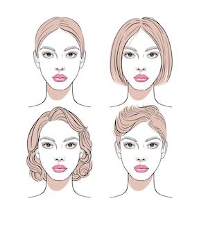 Набор портретов красивой молодой женщины с различной прической.