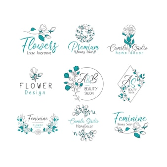 Набор векторов дизайна логотипа красоты и моды