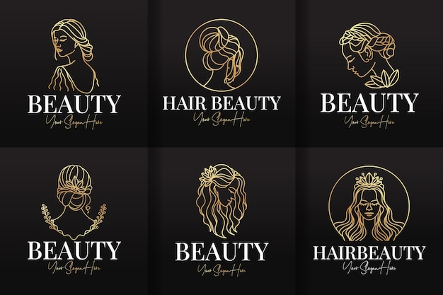 美容とヘアサロンのロゴ線画テンプレートのセット