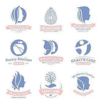 美容と健康車のロゴのセット