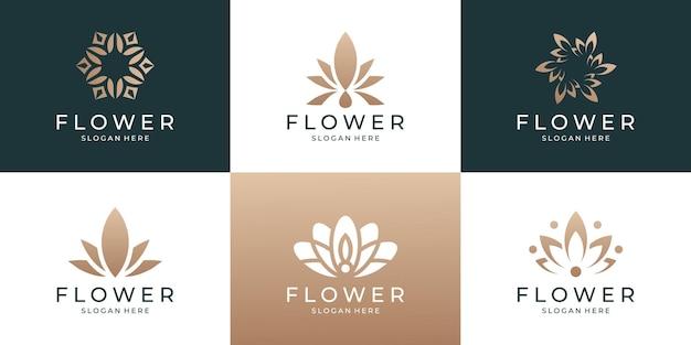 Набор красоты женский цветочный шаблон логотипа лотоса с золотым цветом