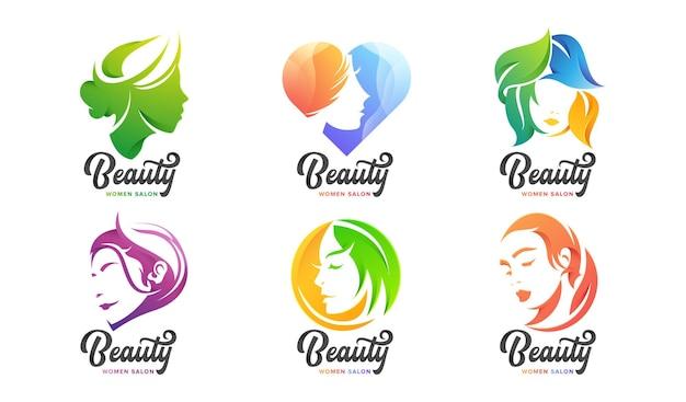 Набор женского логотипа beauty для компании
