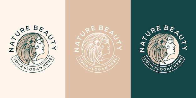 Набор красоты логотипа с линией искусства