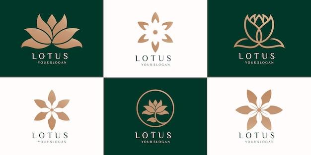Набор красоты цветы лотоса дизайн векторных логотипов