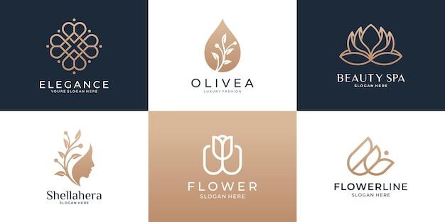 뷰티 럭셔리 로고 디자인 서식 파일의 집합입니다. 꽃, 올리브 오일, 여성, 연꽃, 화려한 여성 아이콘.