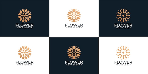 Набор красоты роскошный спа здоровье цветок логотип вектор для украшения