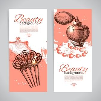 Набор баннеров эскиз красоты. винтажные рисованной векторные иллюстрации косметических аксессуаров