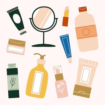 美容スキンケアとボディケアの必需品のセット。フェイシャルクリーム、ハンドクリーム、ミラー、リップクリーム、トナー、にきびスポット、保湿剤、ローション、血清、日焼け止め、日焼け止めのイラスト。